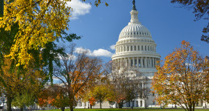 United States Capitol Building in Washington DC, during fall sea