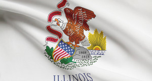 Series Of Ruffled Flags. State Of Illinois.