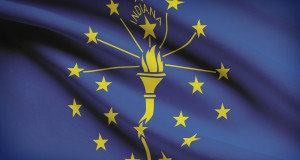 Series Of Ruffled Flags. State Of Indiana