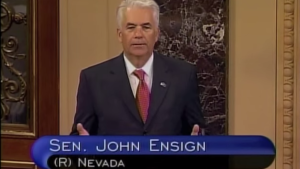 Ensign's final speech to Congress prior to resignation. Screenshot via Ensign's YouTube channel