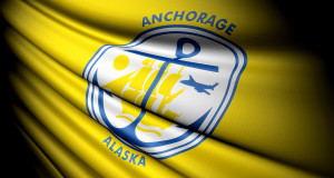 This is an illustration of folded flag of Anchorage (USA)